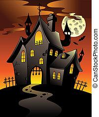 escena, con, halloween, mansión, 1
