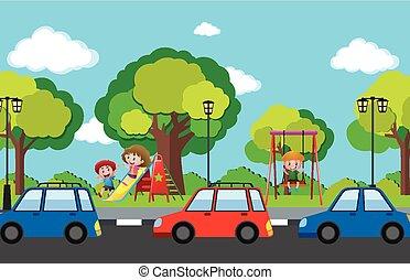 escena, con, niños, en, patio de recreo, y, coches, sobre el calle