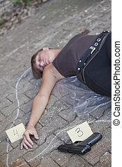 escena crimen, con, matado, mujer