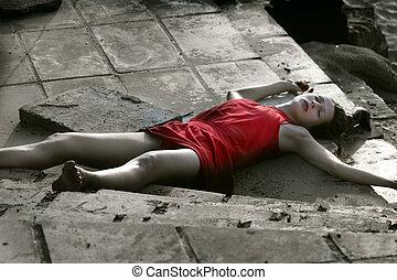 escena crimen, muerto, mujer
