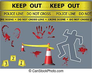 escena crimen, objetos