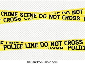 escena crimen, peligro, cintas, ilustración