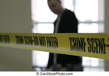 escena crimen, policía, línea, cinta