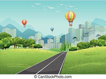 escena de la ciudad, con, globos, y, alto, edificios