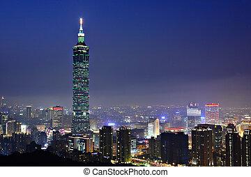 escena de la ciudad, taipei, noche