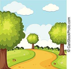 escena de la naturaleza, con, árboles, en el parque