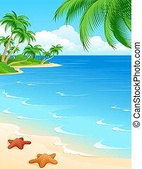 escena de la playa