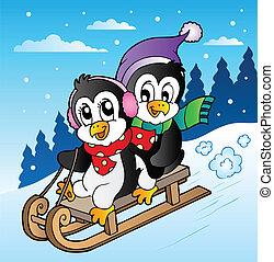 escena del invierno, con, pingüinos, sledging