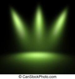 escena, iluminado, proyector