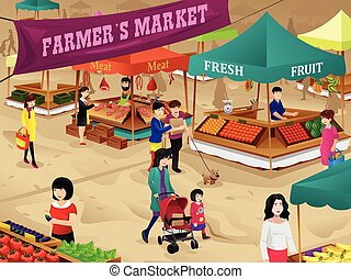 escena, mercado, granjeros