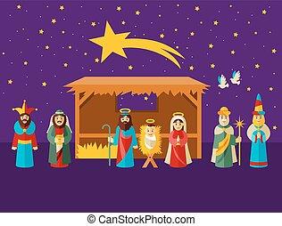 escena natividad navidad, con, santo, familia