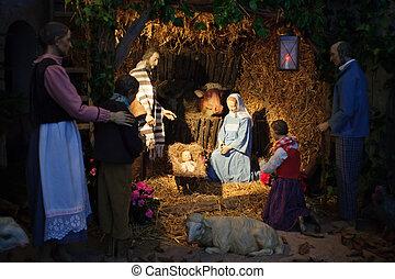 escena natividad navidad, con, tres hombres sabios, presentación, regalos, a, bebé jesús, maría & joseph