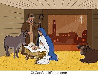 escena natividad navidad, ilustración
