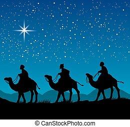 escena navidad, con, el, tres, sabio