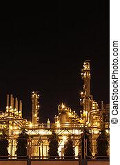 escena noche, de, químico, industrial