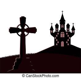 escena, oscuridad, cementerio, castillo, halloween, icono