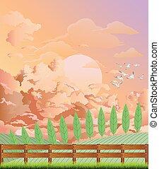 escena, pintoresco, país, amanecer, rural