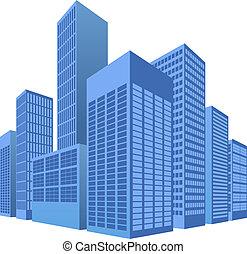 escena urbana, ilustración, ciudad