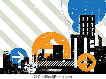 escena urbana, plano de fondo