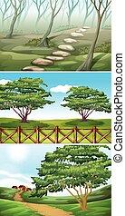 escenas, con, árboles, y, colinas