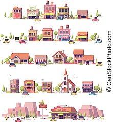 escenas de la ciudad, poly, 2d, vector, bajo, pequeño