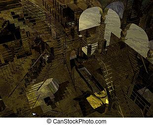 digital visualization of a illusionistic scene