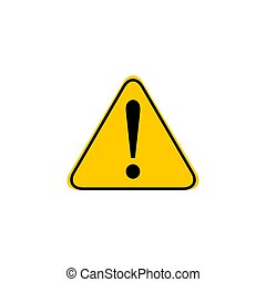 esclamazione, appartamento, concetto, rischio, affari, pericolo, allarme, isolato, illustrazione, marchio, fondo., vettore, attenzione, bianco, style., icona