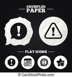 esclamazione, attenzione, discorso, icons., bubble.