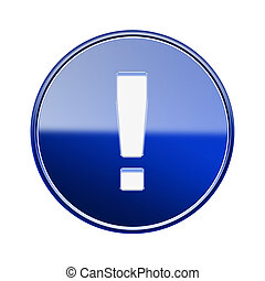 esclamazione, blu, simbolo, isolato, lucido, fondo, bianco, icona