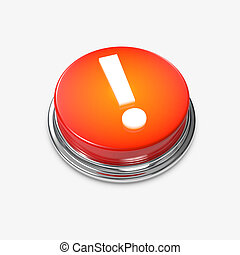 esclamazione, bottone, allarme, ardendo, marchio