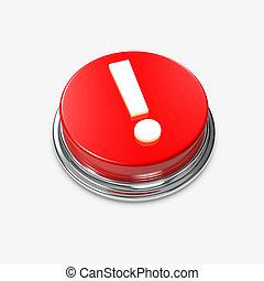 esclamazione, bottone, allarme, marchio