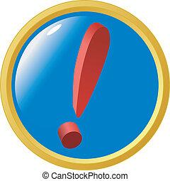 esclamazione, bottone, marchio