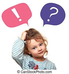 esclamazione, carino, pensare, domanda, segni, piccolo, ragazza, bolle, capretto