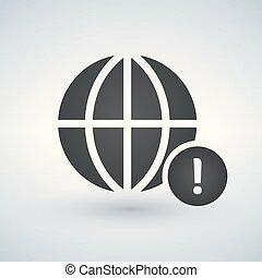 esclamazione, globo, illustrazione, marchio, vettore, icona, minimo, cerchio