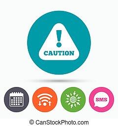 esclamazione, mark., attenzione, segno, attenzione, icon.
