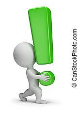 esclamazione, -, persone, porta, piccolo, marchio, 3d