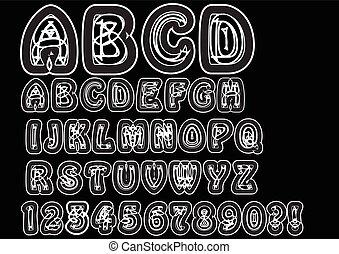 esclamazione, set, elementi, marchio, maiuscolo, bianco, domanda, anticonformista, marchio, scarabocchiare, linea., numeri, caratteri, alfabeto, bizzarro, font, originale