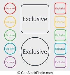 esclusivo, quadrato, frame., offerta, simbolo., segno, bottoni, vettore, simboli, icon., rotondo, speciale