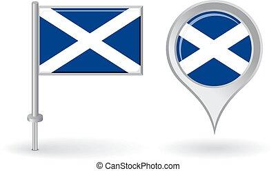 escocés, alfiler, icono, y, mapa, indicador, flag., vector