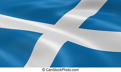 escocés, bandera, en el viento