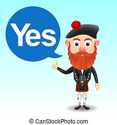 escocés, carácter, en, falda escocesa