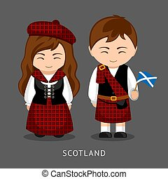 escocés, en, vestido nacional, con, un, flag.