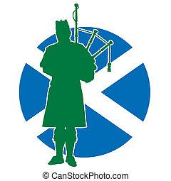 escocés, flautista, bandera