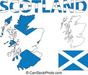 escocés, mapa, y, bandera