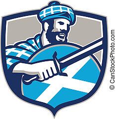escocés, montañés, protector, espada, retro