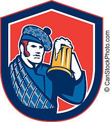 escocés, protector, jarra, cerveza, retro, bebedor
