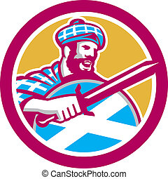 escocés, protector, montañés, retro, espada, círculo