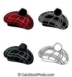 escocés, tradicional, gorra, icono, en, caricatura, estilo,...