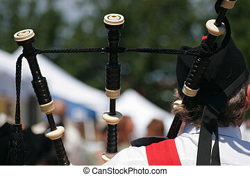 escocês, flautista, borrão