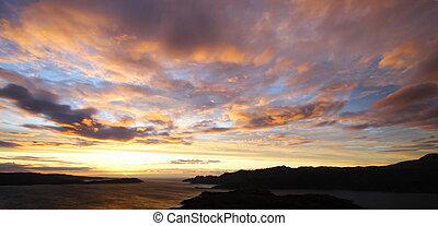escocês, paisagem, em, crepúsculo
